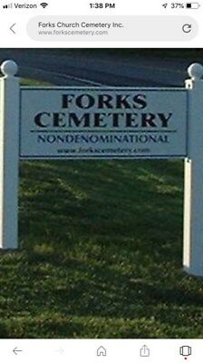 TWO--Burial plots  FORKS CHURCH CEMETERY - FORKS TOWNSHIP: EASTON,  PA.  2 LOTS