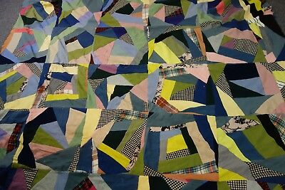 """HUGE 1930's Crazy Quilt Top- 68""""x89""""-Wool Fabric - Bright Colors- STRIKING"""