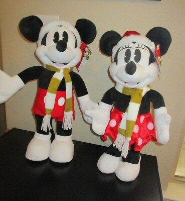 """Mickey Mouse & Minnie Mouse 21"""" Tall Holiday Christmas Greeters Nwt"""