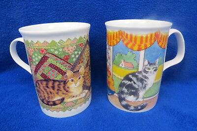 2  Fine Bone China England Coffee Tea Cat Mugs by Elegance & Crown Trent