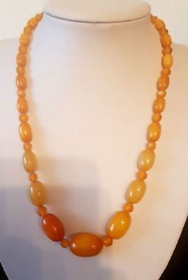 Antique bakelite Amber Necklace with faceted Natural Amber beads