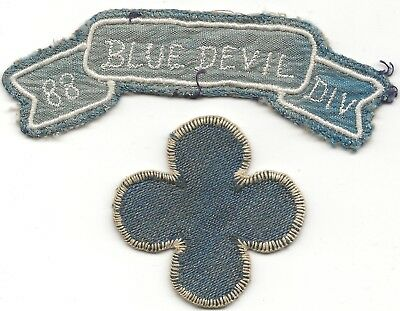 WW2 Italian Made 88th Blue Devil  Division Combo Patch And Shoulder Title