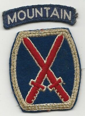 Italian Made Mountain Shoulder Title With US Made  Wool 10th Mountain Div SSI