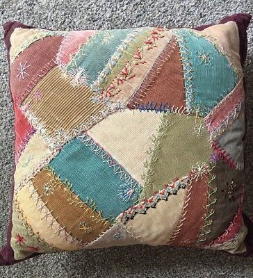 """Vintage Hand Embroidered  Corduroy Crazy Quilt Patchwork 16"""" X 16"""" Pillow"""
