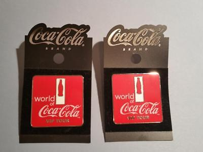 TWO Collectible World of Coca-Cola VIP TOUR PINS badge Coke Red 1.5 inch