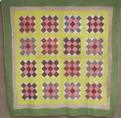 Civil War c 1860s Album ANTIQUE Quilt Browns Greens NEVER used