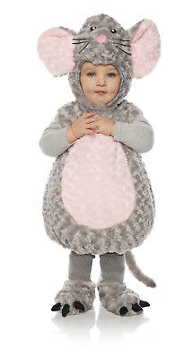 Mouse Girls Toddler Grey Belly Baby Plush Fluffy Animal Costume