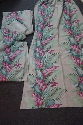 "1940's Barkcloth Curtains- 4 pcs- 78"" L- Huge Tropical Flowers-Rose,Pink,Gray"