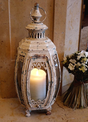 Extra Large Metal Lantern Candle Holder Antique French Vintage Style Shabby Chic