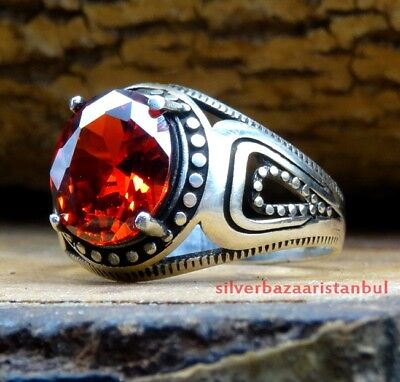 NEW RED RUBY stone Turkish Handmade 925 Sterling Silver Mens Ring US all size