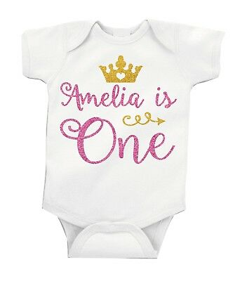 Personalised Pink Glitter First 1st Birthday Baby Girl Grow Vest Free P&P