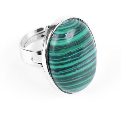R238E Ring Silver Plated Oval with Malachite Green Adjustable Size