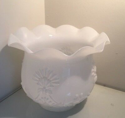 antique milk glass embossed ruffle oil lamp shade