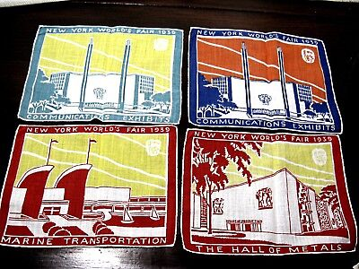 New York Worlds Fair 1939 Handkerchiefs -Total Of Eight In  Very Good Condition