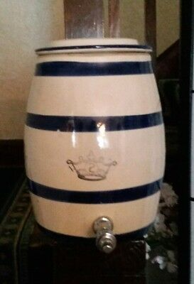 VINTAGE CLAY WATER Cooler Crock With Lid Spigot 3 Gallon