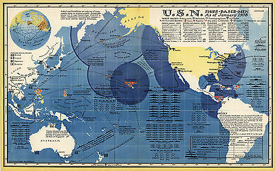 1938 Map U.S. Navy Ships Bases Men As of January Naval Sailor Wall Art Poster