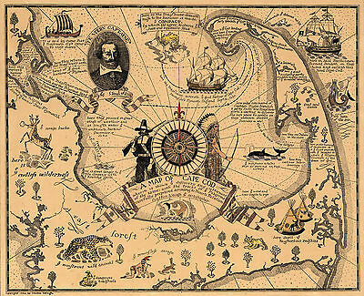 1926 Pictorial Map Cape Cod Wall Art Poster Print Decor Genealogy Family History