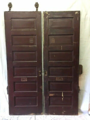 "Set of Two Wood Raised 6 Panel Pocket Doors Antique 60""x90"" Dark Barn Sliding"