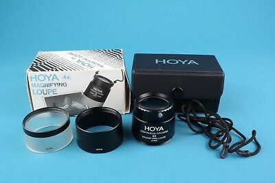Hoya 4x Magnifying Loupe Boxed with Case and 2 Interchangeable Hoods