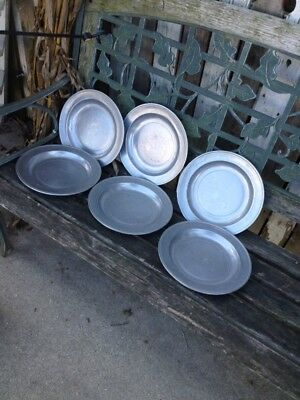 """6 Vintage Wilton RWP Armetale  GATES HOUSE 10 1/4"""" Dinner Plates Chargers Pewter"""