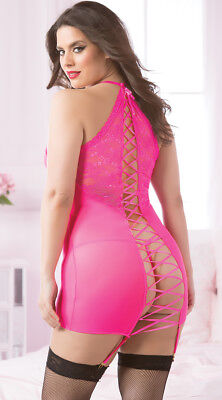 Plus Womens Plus Size Hot Pink Lace-up Chemise Set, Plus Size Pink Chemise Set