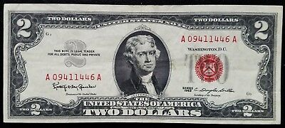 1963 Series $2 Two Dollar Red Seal Legal Tender United States Note Free Shipping