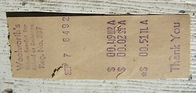 Woolworth's store Receipt, old browned receipt. Woolworth's 1883 til 1992.