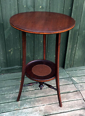 Fab Antique 3 Legged Solid Mahogany Edwardian Wine Table With Satinwood Inlay
