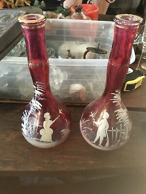 Beautiful Pair Of Antique Mary Gregory Bottles