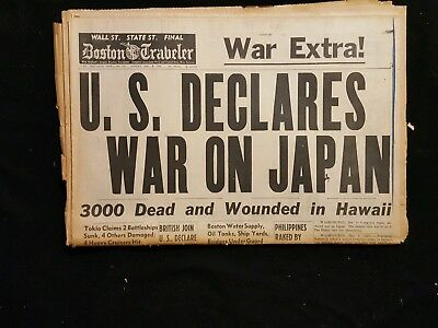WW 2 Dec 8, 1942 Boston Traveler US DECLARES WAR ON JAPAN