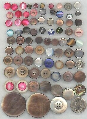 216 Vintage Pearl Shell Buttons: Carved, Colors, Abalone, Diminutive Sets