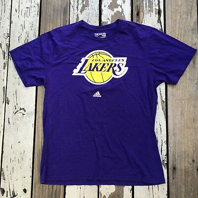 LA Los Angeles LAKERS Basketball • Men's ADIDAS Go-To Tee T-Shirt size LARGE
