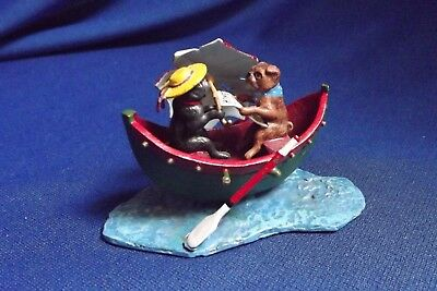 "Vintage Vienna Bronze Cold Painted 2 Dogs in Boat Reading Homer 3 1/8""Long 2"" Hi"