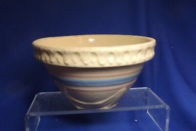 """McCoy Yellow Ware Pottery 6 1/2"""" Shoulder Bowl Pink & Blue Banded Chip Bottom"""
