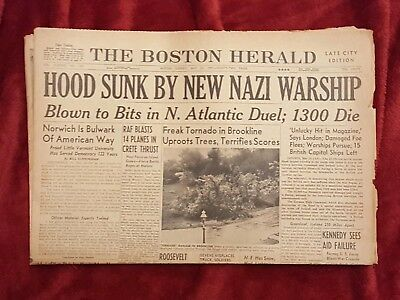 Boston Herald Newspaper Headline Ww 2 Hood Sunk By New Nazi Warship