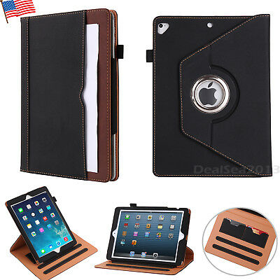 360 Premium Rotating Leather Sleep Wake Smart Case Cover For iPad 9.7 5th Gen US