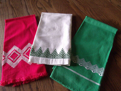 Vintage Huck Embroidered Tea Towels Dish Towels-Christmas- Red, Green,White