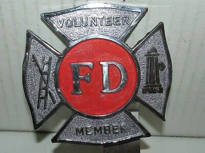 Vintage Metal Fire Department License Plate Topper Sign