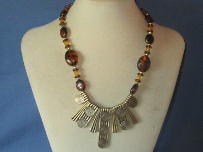 Vintage Gold-Tone Metal Brown Art Glass Bead Egyptian Style Necklace