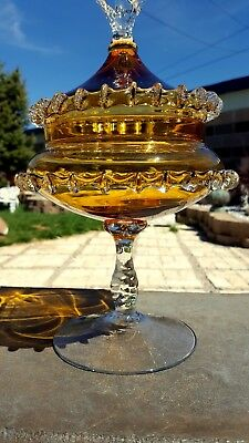 RARE FAB Vntg Amber Glass TWISTED Stem Footed Covered Candy Dish RIGAREE Italy!