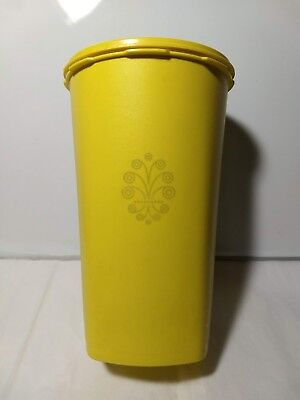 """Vintage Tall Tupperware Canister Harvest Yellow #1222-5 Pleated Lid 10.5"""" Tall"""