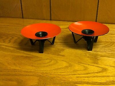 Vintage Danish Mid Century Modern Metal w Orange Red Candle Holder Set 2 Denmark