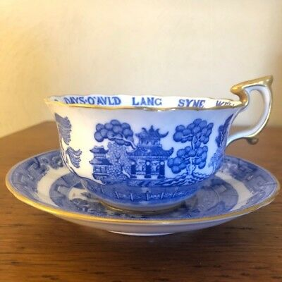 """Antique Tiffany & Co. Spode Copeland Blue Willow""""Auld Lang Syne""""  Cup & Saucer"""