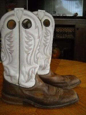 8aef622a754 MENS JUSTIN LEATHER Square Toe Cowboy Western Boots--Brown/Ivory--Size 10  1/2 D