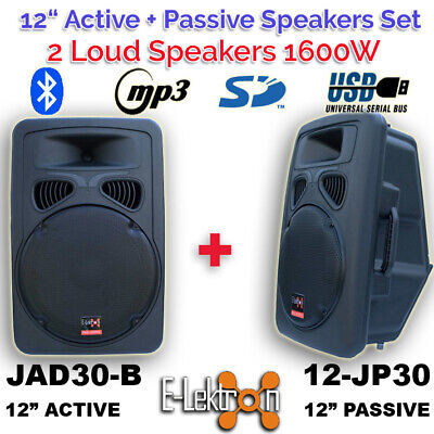 "2 Pcs 12"" inch Speaker 1500W Active+Passive Set Sound System Bluetooth USB PA"