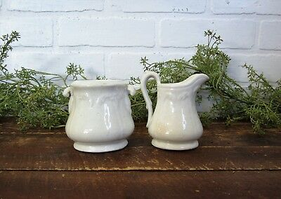 Antique White Ironstone Petite Creamer and Sugar Bowl Set - no lid