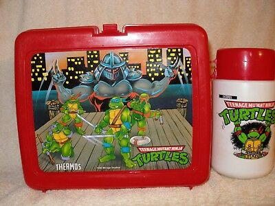 1990 Teenage Mutant Ninja Turtle Thermos Lunchbox With Thermos - VTG Plastic Red