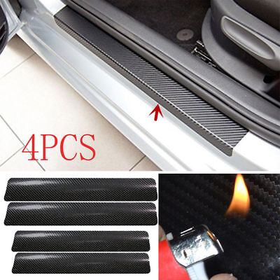 4Pcs 3D Carbon Fiber Black Car Universal Door Plate Cover Anti Scratch Sticker