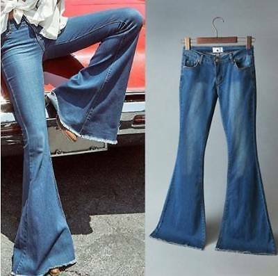 women skinny flared jeans sexy long pants slim fashion lady bell-bottom trousers