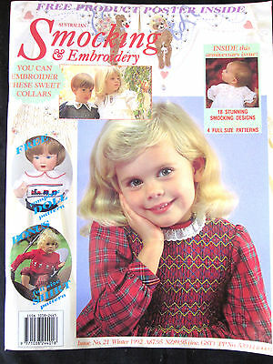 ~AUSTRALIAN SMOCKING & EMBROIDERY Magazine Issue 21 - 1992 - COMPLETE - VGC~